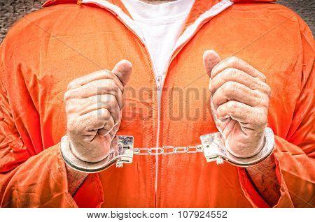 Handcuffed Hands - Guantanamo Prison Orange Clothes