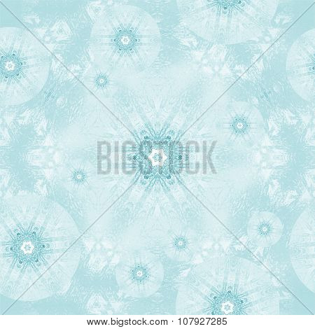 Seamless frost pattern turquoise white