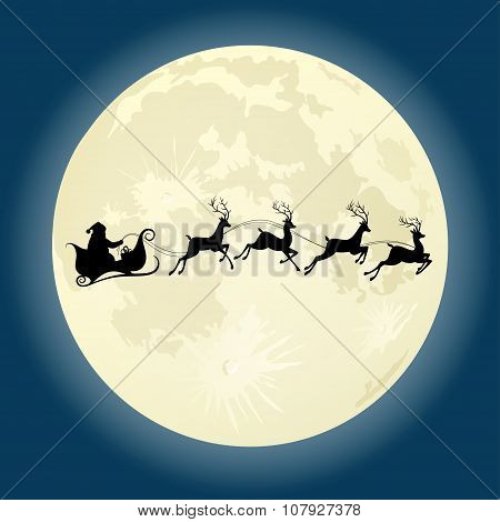 Santa Claus Silhouette With Deers In Front Of Moon