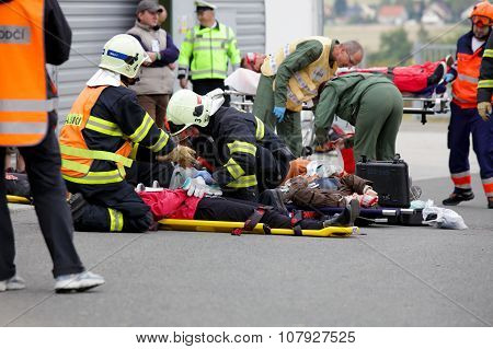 CZECH REPUBLIC, PLZEN, 30 NOVEMBER, 2015: A team of emergency medical services at work,wounded on a