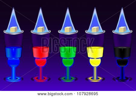 The five glasses with multicolored absinthe shots and flaming sugar cubes over them on the deep blue gradient background poster