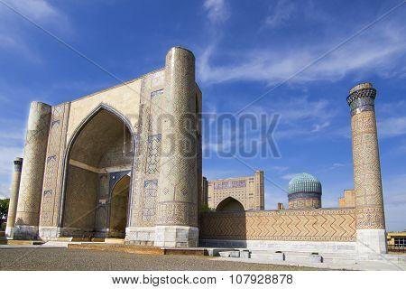 Madrassah near the central bazaar in Samarkand, Uzbekistan