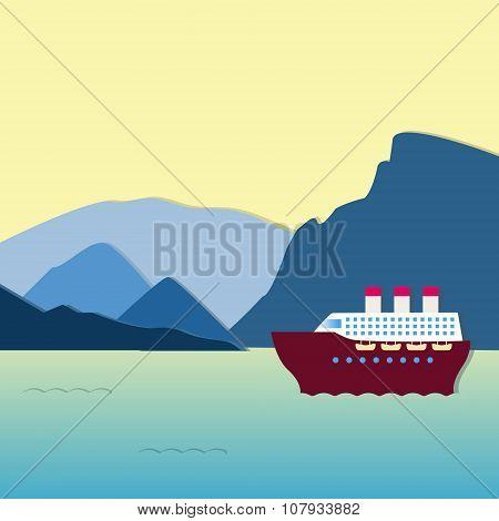 Large steamship at sunset