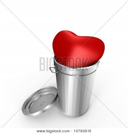 A heart in the trash - a 3d image