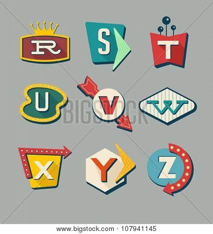 Retro signs alphabet. Letters on vintage style signs. Alphabet reminiscent of 1950s roadside signs.