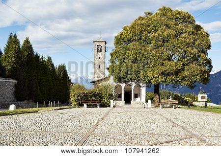 The Square With The Church Of The Madonna Del Ghisallo Patroness Of Cyclists Which Houses Mementos O