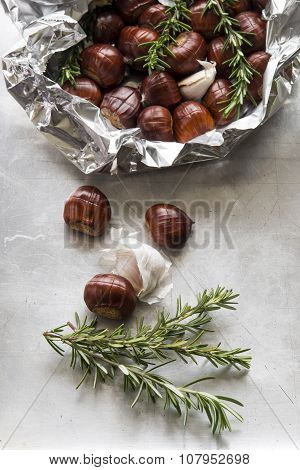 Chestnuts Prepared For Roasting