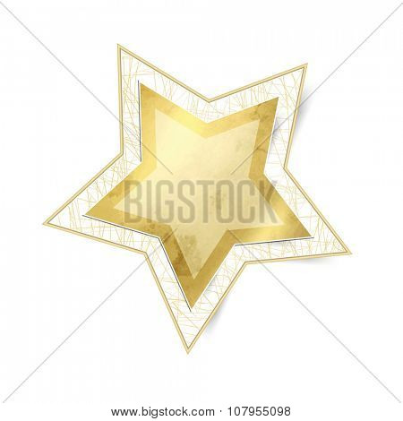 Gold star isolated against white background - xmas sticker