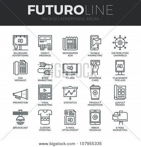 Advertising Media Futuro Line Icons Set
