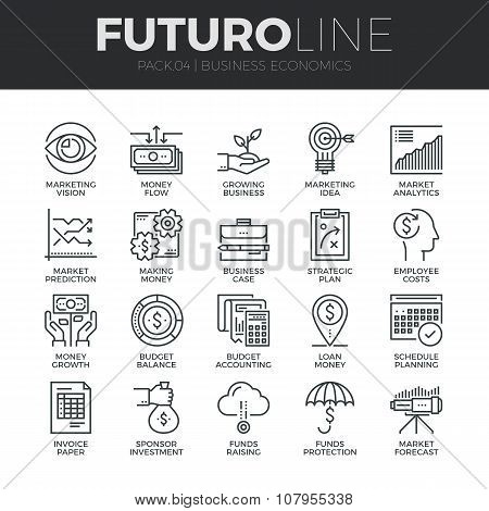 Business Economics Futuro Line Icons Set