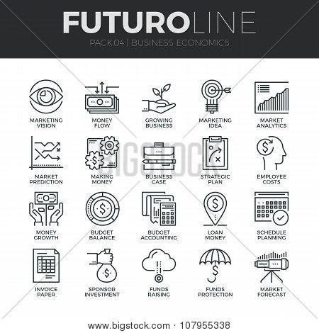 Business Economics Futuro Line Icons Set
