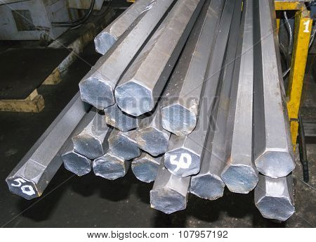 Steel Hexagon Bars In Factory Warehouse