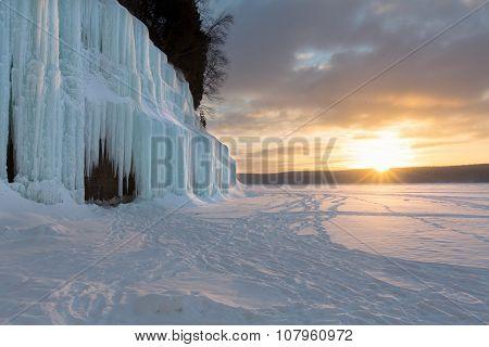 Sunrise On The Grand Island Ice Curtains - Lake Superior