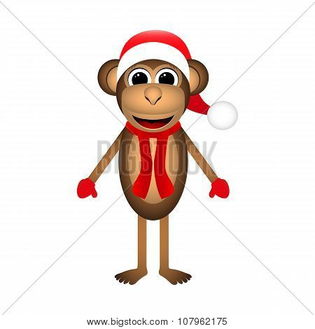 Christmas Monkey On A White Background