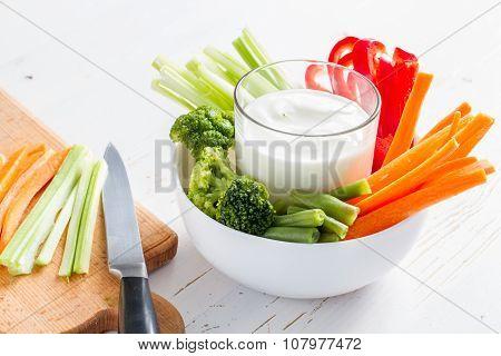 Preparing vegetable sticks