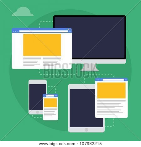 Vector illustration of adaptive web design on different devices. Flat design