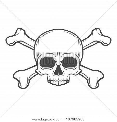 Human evil skull vector. Jolly Roger with crossbones logo template. death t-shirt design. Pirate insignia concept. Poison icon illustration poster