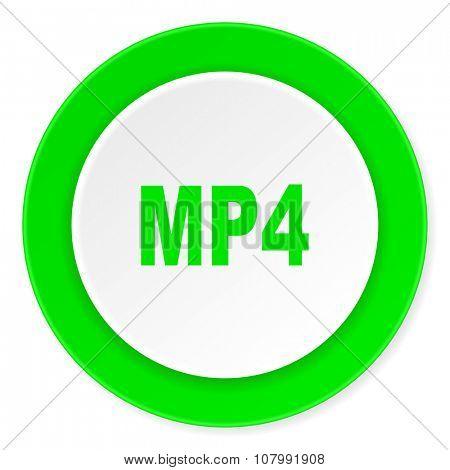 mp4 green fresh circle 3d modern flat design icon on white background