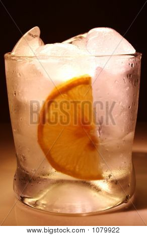 Bourbon Glass With Ice And Lemon