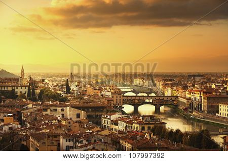 Florence or Firenze sunset Ponte Vecchio bridge. Panorama view from Michelangelo park square. Tuscany Italy poster