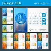 Desk Calendar for 2016 Year. Vector Design Print Template with Place for Photo and Circles. Week Starts Monday. Calendar Grid with Week Numbers. Set of 12 Months poster