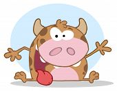 Happy Calf Cartoon Character Waving A Greeting poster