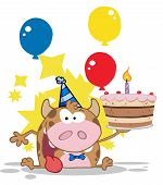 Happy birthday happy cow with cake and balloons poster