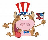 Happy calf with patriotic hat and flag poster