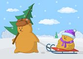 Father with a Christmas fur-tree and child on sledge on a winter background poster
