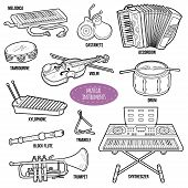 Colorless set with musical instruments vector cartoon collection for children poster