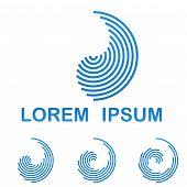 Blue telecommunication logo design template icon set poster