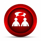 Comments icon. Internet button on white background. - men with bubbles poster