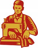 Illustration of a tailor machinist with sewing machine sewing facing front set on isolated white background done in retro woodcut style. poster