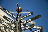 Conceptual sign post. Directional sign with mixed message correctway difficult slow challenging hard ambitious wrong fastway poster