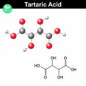 Tartaric acid molecule, tartrate structural chemical formula and model, 2d & 3d vector, food additive E334, isolated on white background, eps 8 poster