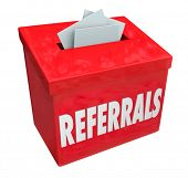 Referrals word on 3d red box for collecting word of mouth customers referred by loyal clients poster