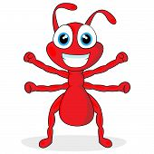 vector illustration of a cute little red ant. No gradient. poster