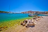 Beach of Adriatic town Primosten Dalmatia Croatia poster