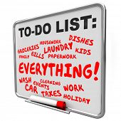 To Do List chores, tasks, work and projects written on a message board for an overburdened or stressed out life poster