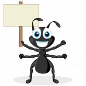 vector illustration of a cute little black ant with wood sign. No gradient. poster