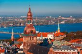 Aerial view of Old Town and River Daugava from Saint Peter church, with Riga Cathedral and Riga castle, Riga, Latvia poster