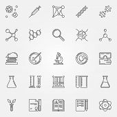 Biotechnology icons - vector set of linear science symbols, DNA, cells and laboratory equipment signs poster