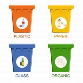 Separation recycling bins. Waste segregation management concept. Vector Illustration poster