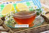Good morning card with cup of chamomile tea, chamomile flowers and lemon poster