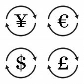 Finance currency exchange vector icon set. Yuan dollar euro pound sterling money exchange. Vector illustration poster