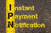 Concept image of Business Acronym IPN as Instant Payment Notification written over road marking yellow paint line. poster