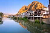 Traditional ottoman half timbered houses in Amasya Turkey poster
