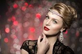 High-fashion Model Girl Beauty Woman high fashion Vogue Style Portrait fashionable Luxury lady jewelry diamond necklace Stylish Makeup Make up Perfect skin red lips blurred lights Bokeh backlight  poster