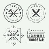 Vintage carpentry or mechanic logo emblem badge label and watermark with saws hammers chisels nailstrees and stars int retro style. Vector illustration poster