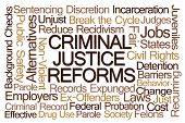 Criminal Justice Reforms Word Cloud on White Background poster
